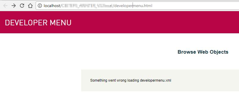 erro developer menu
